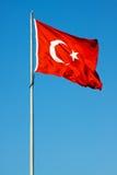 Wellenartig bewegende Markierungsfahne von der Türkei Stockfotos