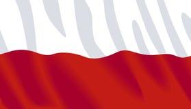 Wellenartig bewegende Markierungsfahne von Polen Stockbild
