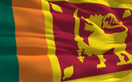 Wellenartig bewegende Markierungsfahne von Sri Lanka Stockfotos