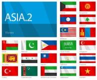 Wellenartig bewegende Markierungsfahnen der asiatischen Länder - Teil 2 Stockfoto