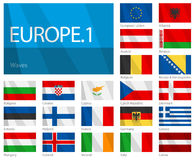Wellenartig bewegende Markierungsfahnen der europäischen Länder - Teil 1 Stockbilder
