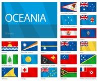 Wellenartig bewegende Markierungsfahnen der Ozeanien-Länder. Auslegung WELLEN. Stockbilder