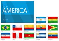 Wellenartig bewegende Markierungsfahnen der südamerikanischen Länder Lizenzfreie Stockfotos