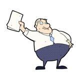wellenartig bewegende Papiere des komischen Karikaturchefs Lizenzfreies Stockfoto