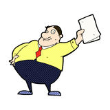 wellenartig bewegende Papiere des komischen Karikaturchefs Stockbild