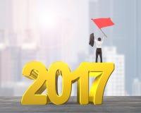 Wellenartig bewegende rote Fahne des Mannes, die 2017 Jahr steht Stockfotografie