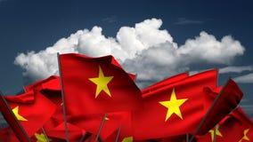 Wellenartig bewegende vietnamesische Flaggen