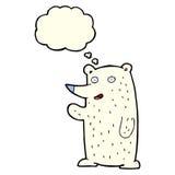 wellenartig bewegender Eisbär der Karikatur mit Gedankenblase Stockfotografie