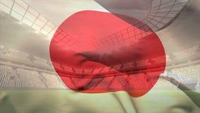 Wellenartig bewegender Japaner im Fußballstadion stock abbildung