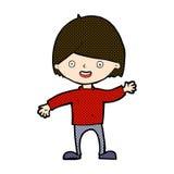 wellenartig bewegender Junge der komischen Karikatur Stockfoto