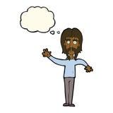 wellenartig bewegender Mann der Karikatur mit dem Schnurrbart mit Gedankenblase Lizenzfreie Stockfotografie