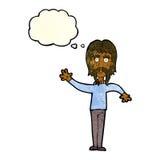 wellenartig bewegender Mann der Karikatur mit dem Schnurrbart mit Gedankenblase Stockbilder