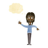 wellenartig bewegender Mann der Karikatur mit dem Schnurrbart mit Gedankenblase Lizenzfreies Stockfoto