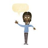 wellenartig bewegender Mann der Karikatur mit dem Schnurrbart mit Spracheblase Lizenzfreie Stockfotografie