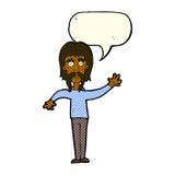wellenartig bewegender Mann der Karikatur mit dem Schnurrbart mit Spracheblase Stockbild