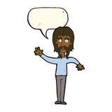 wellenartig bewegender Mann der Karikatur mit dem Schnurrbart mit Spracheblase Stockfoto