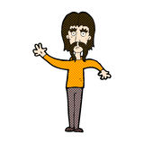 wellenartig bewegender Mann der komischen Karikatur mit dem Schnurrbart Stockbild