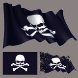 Wellenartig bewegender Piraten-Flaggen-Jawless Schädel und Knochen vektor abbildung