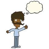 wellenartig bewegender Schnurrbartmann der Karikatur mit Gedankenblase Stockbild