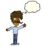 wellenartig bewegender Schnurrbartmann der Karikatur mit Gedankenblase Stockfoto
