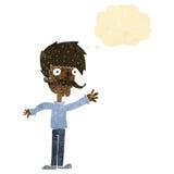 wellenartig bewegender Schnurrbartmann der Karikatur mit Gedankenblase Stockbilder