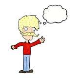 wellenartig bewegender Schnurrbartmann der Karikatur mit Gedankenblase Lizenzfreies Stockfoto