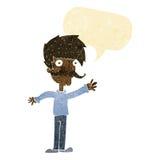 wellenartig bewegender Schnurrbartmann der Karikatur mit Spracheblase Stockfotos