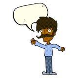 wellenartig bewegender Schnurrbartmann der Karikatur mit Spracheblase Stockbilder