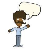 wellenartig bewegender Schnurrbartmann der Karikatur mit Spracheblase Stockbild