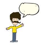 wellenartig bewegender Schnurrbartmann der Karikatur mit Spracheblase Stockfotografie