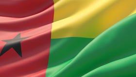 Wellenartig bewegte in hohem Grade ausführliche Nahaufnahmeflagge von Guinea-Bissau Abbildung 3D lizenzfreie abbildung
