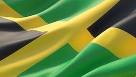 Wellenartig bewegte in hohem Grade ausführliche Nahaufnahmeflagge von Jamaika Abbildung 3D lizenzfreie abbildung