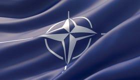 Wellenartig bewegte in hohem Grade ausf?hrliche Nahaufnahmeflagge von NATO Abbildung 3D vektor abbildung