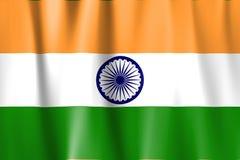 Wellenartig bewogene Indien-Markierungsfahne Stockbild