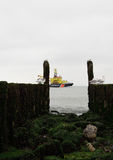 Wellenbrecher mit Seemöwen auf der Küstenlinie der Nordsee Stockfoto