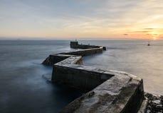 Wellenbrecher-Pier St. Monans, Pfeife Schottland Lizenzfreies Stockfoto