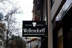 Wellendorff商店商标在法兰克福 库存照片