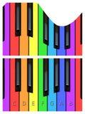 Wellenförmige Klaviertasten, keyborad in den Regenbogenfarben lizenzfreie abbildung