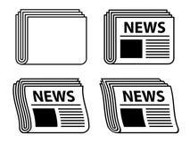 Wellenförmige Zeitungsschwarzsymbole Stockfotos