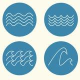 Wellenikonensatz Stockbilder