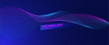 Wellenlinie Hintergrund mit glatter Form Schöne wellenartig bewegende Linie in der blauen Hintergrundfarbe Horizontale Fahnenscha lizenzfreie abbildung