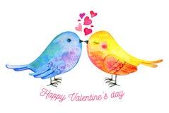 Wellensittiche verbinden mit Herzen und dem Wunsch Handgezogene Aquarellillustration für St.-Valentinstag stock abbildung