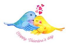 Wellensittichepaare, die mit Herzen und dem Wunsch streicheln Handgezogene Aquarellillustration für St.-Valentinstag vektor abbildung