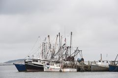 Wellfleet Harbor fishing boats Stock Images