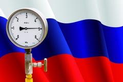 Wellhead Pressure Gauge on flag Russia Royalty Free Stock Image