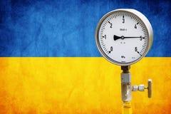 Wellhead Pressure Gauge on flag Ukraine Royalty Free Stock Image