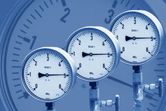 Wellhead Pressure Gauge. High pressure reading on gas wellhead Stock Photography