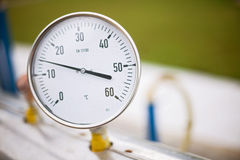 Wellhead Pressure Gauge. High pressure reading on gas wellhead Royalty Free Stock Image