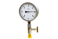 Wellhead Pressure Gauge. High pressure reading on gas wellhead isolated on white Stock Photography
