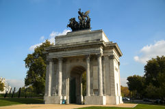 Wellington Arch. Also known as Constitution Arch, was designed by Decimus Burton and built 1826-1830 to commemorate, The Duke Of Wellington's victory over Royalty Free Stock Images